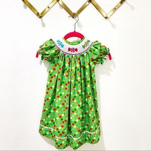 Krewe Smocked Embroidered Holiday Candy Dress 18 M